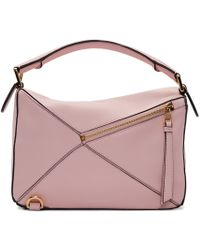 Loewe Pink Leather Small Puzzle Bag