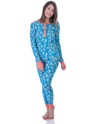 Munki Munki - Blue Sock Monkey Long John Pajama Set - Lyst