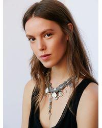 Free People | Metallic Multi Chain Cross Necklace | Lyst