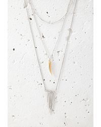 Forever 21 | Metallic Layered Faux Stone And Matchstick Necklace | Lyst