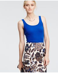 Ann Taylor | Blue Cotton Tank | Lyst