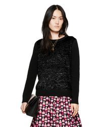 kate spade new york | Black Textured Front Sweater | Lyst