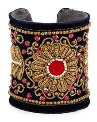 Chamak by Priya Kakkar | Multicolor Velvet Floral Beaded Cuff Bracelet | Lyst