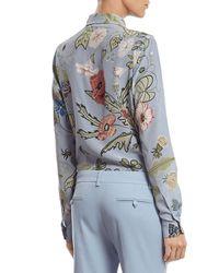 Gucci Blue Flora Knight Print Silk Straight Shirt
