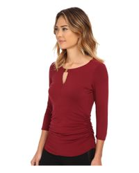 Vince Camuto | Red 3/4 Sleeve Keyhole Top W/ Hardware | Lyst