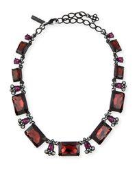 Oscar de la Renta Black Large Octagon Stone Necklace