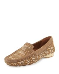 Donald J Pliner - Brown Lanie Studded Suede Loafers - Lyst