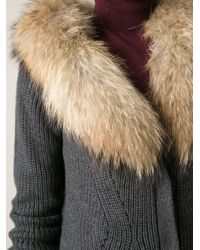 P.A.R.O.S.H. Gray Removable Fur Collar Cardi-Coat