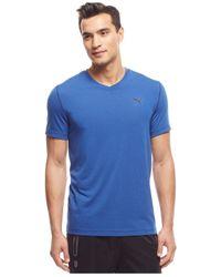 PUMA | Blue Essential V-neck T-shirt for Men | Lyst