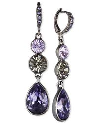 Givenchy | Purple Hematitetone Triple Crystal Drop Earrings | Lyst