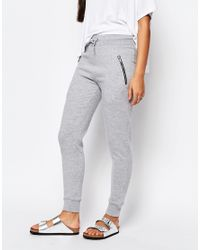 Missguided - Gray Zip Detail Jogger - Lyst