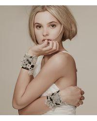 Colette Malouf | Black Leather Crochet Flower Bracelet | Lyst