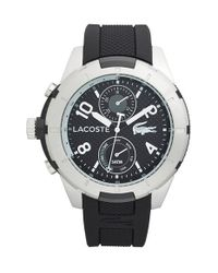 Lacoste | Black 'tonga' Round Silicone Strap Watch for Men | Lyst