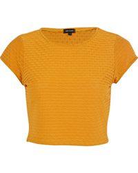 River Island Orange Dark Yellow Textured Cap Sleeve Crop Top