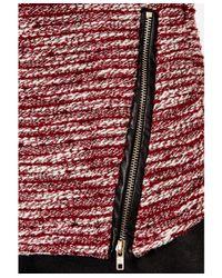 Missguided - Purple Eldea Melange Contrast Zip Detail Jumper In Burgundy - Lyst