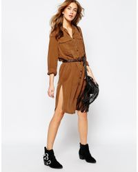 Pull&Bear - Brown Utility Shirt Dress - Lyst