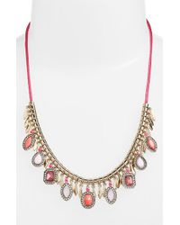 Kent & King - Pink Jeweled Frontal Necklace - Lyst