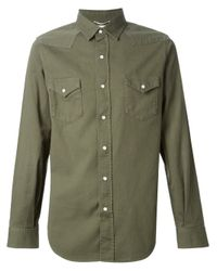 Saint Laurent Green Classic Western Shirt for men