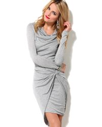 AKIRA - Gray Drop Knot Knit Dress - Lyst