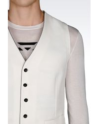 Armani - White Gilet In Stretch Cotton Pique for Men - Lyst