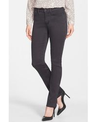 NYDJ | Gray 'Samantha' Colored Stretch Slim Straight Leg Jeans | Lyst