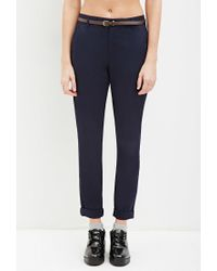 Forever 21 - Blue Belted Chino Pants - Lyst