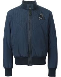 Philipp Plein - Blue 'equipe' Bomber Jacket for Men - Lyst
