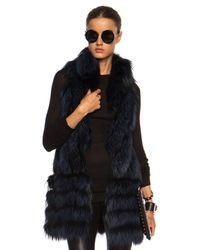J. Mendel Blue Silver Fox Vest with Lace