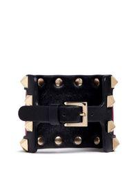 Valentino | Pink 'rockstud' Colourblock Leather Bracelet | Lyst