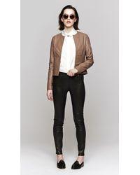 J Brand | Black Crop Pullon Leather Legging | Lyst