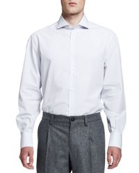 Brunello Cucinelli - White Micro-windowpane Button-down Shirt for Men - Lyst