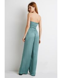 Forever 21 | Green Smocked Wide-leg Jumpsuit | Lyst