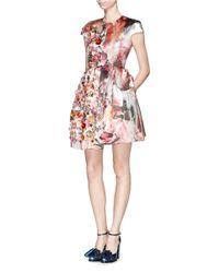 MSGM Multicolor Sequin Floral Duchesse Satin Flare Dress
