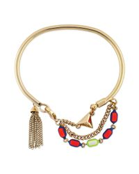 BCBGeneration - Metallic Goldtone Colorful Stone and Tassel Accent Bracelet - Lyst