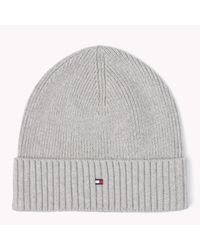 Tommy Hilfiger - Gray Wool Cotton Blend Beanie for Men - Lyst