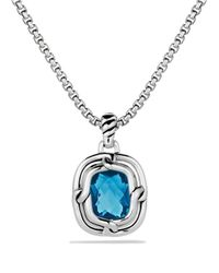 David Yurman | Metallic Labyrinth Small Pendant With Blue Topaz | Lyst