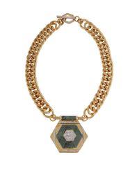 Rachel Zoe - Metallic Naodelite And 12K Gold Plated Geometric Pendant Necklace - Lyst