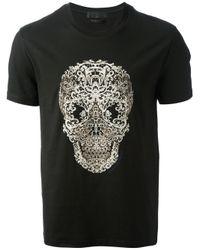 Alexander McQueen Black Lace Skull Print Tshirt for men