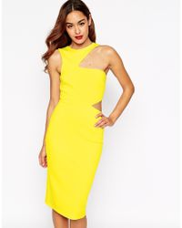 ASOS | Yellow Cut Out Asymmetric Bodycon Dress | Lyst