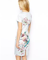 Oasis - White Printed Pencil Dress - Lyst