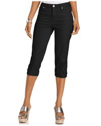Style & Co. | Black Tummy Control Cuffed Capri | Lyst