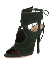 Aquazzura Green Sexy Thing Suede Cut-Out Pumps