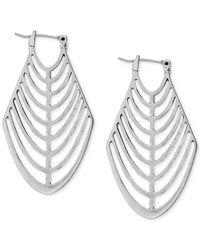 Lucky Brand - Metallic Silver-tone Openwork Hoop Earrings - Lyst
