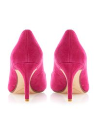 Dune Pink Alina Pointed Mid Heel Court Shoes