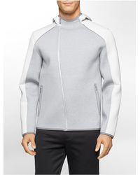 Calvin Klein - Gray Performance Colorblock Asymmetrical Zip Hoodie for Men - Lyst
