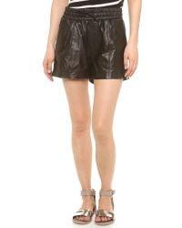 Koral Black Mina Leather Jogging Shorts