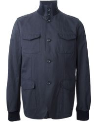 Dolce & Gabbana - Blue Roll-Neck Cotton-Blend Coat for Men - Lyst