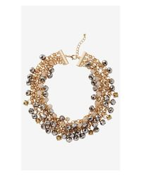 Express | Metallic Short Mixed Faceted Bead Necklace | Lyst