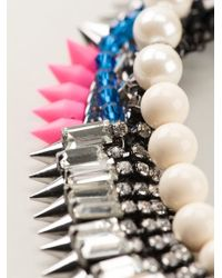 Venna - Metallic Pearly Spiked Collar Necklace - Lyst