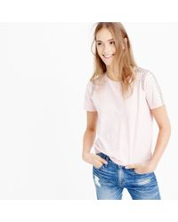 J.Crew - Pink Beaded-shoulder T-shirt - Lyst